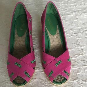 RALPH LAUREN Pink & Green Dragonfly Wedges Shoes 8